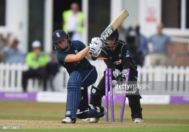 Heather Knight of England Women is bowled out by Hayley Jensen of New Zealand Women during the 3rd ODI ICC Women's Championship between England Women...
