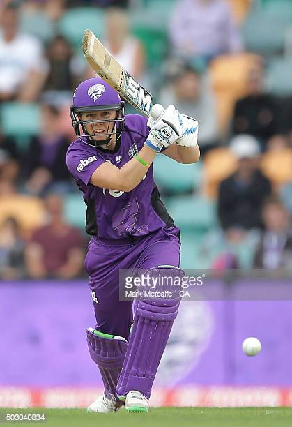 Heather Knight of the Hurricances bats during the Women's Big Bash League match between the Hobart Hurricanes and Sydney Thunder at Blundstone Arena...