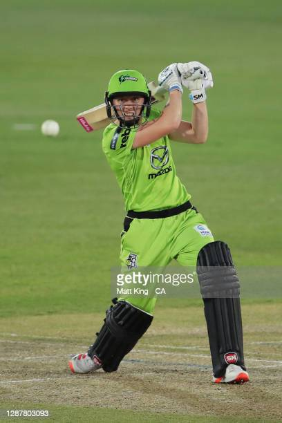 Heather Knight of the Thunder bats during the Women's Big Bash League WBBL Semi Final match between the Brisbane Heat and the Sydney Thunder at North...