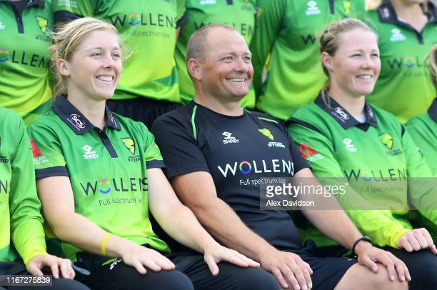 Heather Knight of Western Storm and Trevor Griffin head coach of Western Storm during the Kia Super League match between Western Storm and Lancashire...