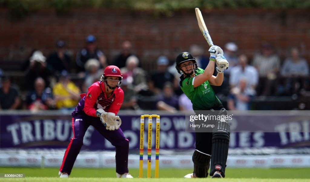 Heather Knight of Western Storm bats during the Kia Super League 2017 match between Western Storm and Loughborough Lightning at The Cooper Associates County Ground on August 12, 2017 in Taunton, England.