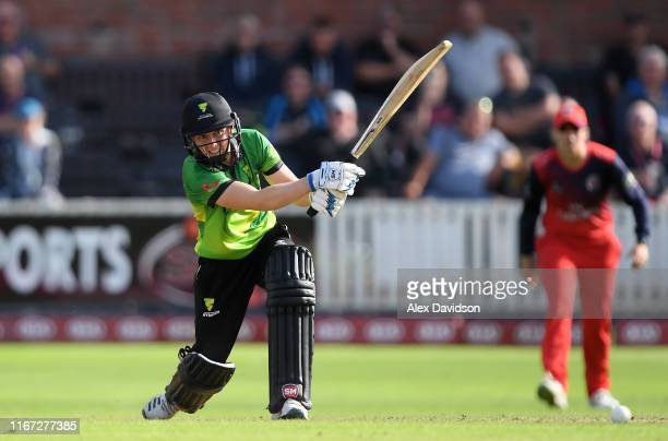 Heather Knight of Western Storm bats during the Kia Super League match between Western Storm and Lancashire Thunder at The Cooper Associates County...