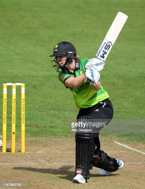 Heather Knight of Western Storm bats during the Kia Super League match between Western Storm and Loughborough Lightning at Bristol County Ground on...