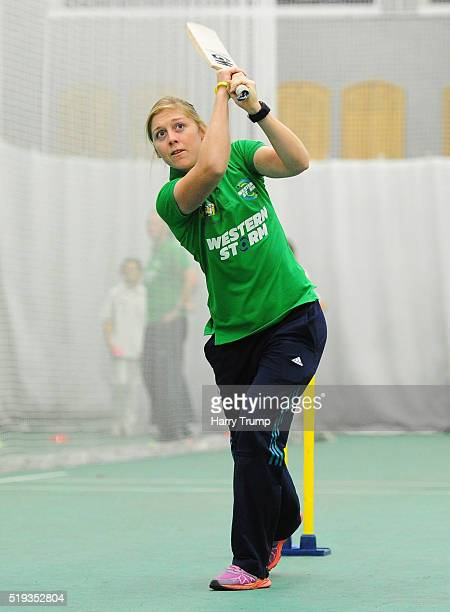 Heather Knight of Western Storm demonstrates a coaching drill during the Western Storm England Player Announcement at the County Ground on April 6...