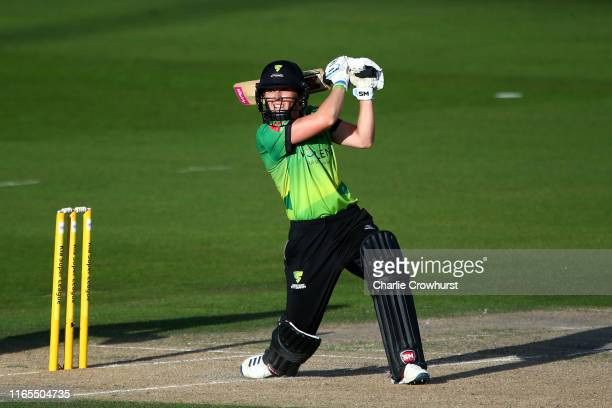 Heather Knight of Western Storm hits out during the Kia Super League 2019 Final between Western Storm and Southern Vipers at The 1st Central County...