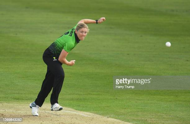 Heather Knight of Western Storm in bowling action during the Rachael HeyhoeFlint Trophy match between Western Storm and Southern Vipers at The County...