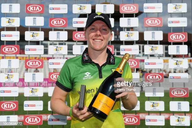 Heather Knight of Western Storm poses after being named player of the match during the Kia Super League match between Western Storm and Yorkshire...