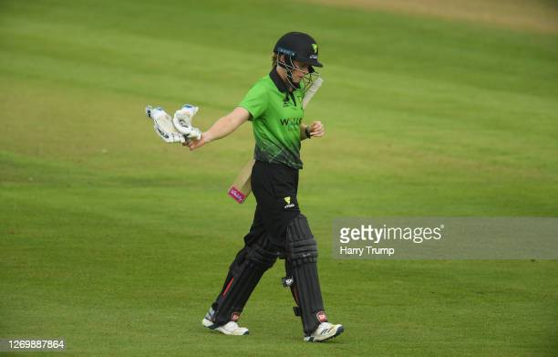 Heather Knight of Western Storm walks off after being dismissed during the Rachael HeyhoeFlint Trophy match between Western Storm and Southern Vipers...