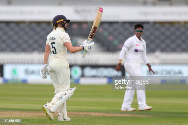 Heather Knight reaches 50 on Day One of the LV= Insurance Test Match between England Women and India Women at Bristol County Ground on June 16, 2021...