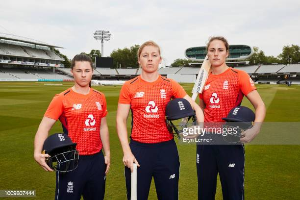 Heather Knight Tammy Beaumont and Nat Sciver of England attend a photo shoot at Lord's Cricket Ground on May 21 2018 in London England