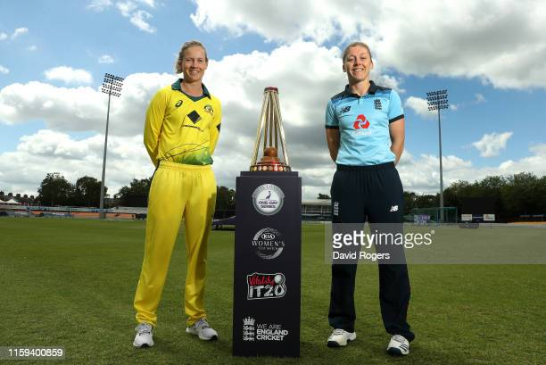 Heather Knight the England captain poses with Meg Lanning the Australia captain with the Ashes Trophy at Fischer County Ground on July 01 2019 in...