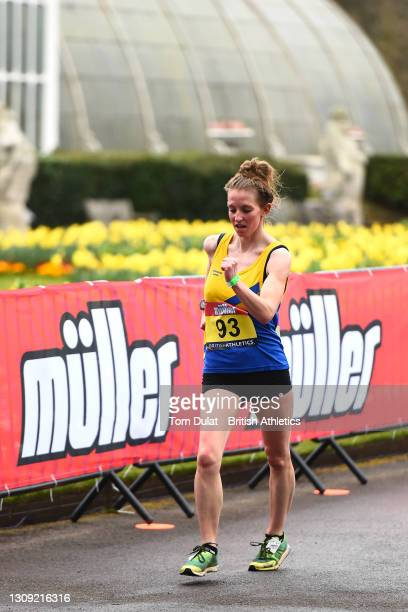Heather Lewis in action as she competes in the womens 20km walking race during the Muller British Athletics Marathon and 20km Walk Trials at Kew...
