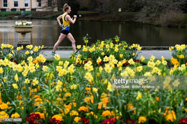 Heather Lewis in action during the womens 20km walking race during the Muller British Athletics Marathon and 20km Walk Trials at Kew Gardens on March...
