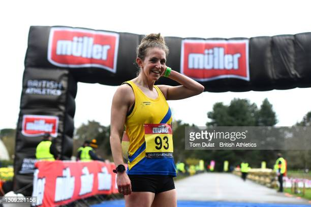 Heather Lewis reflects after winning the womens 20km walking race during the Muller British Athletics Marathon and 20km Walk Trials at Kew Gardens on...