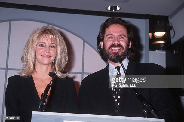 Heather Locklear and Dennis Miller during Press Conference for Billboard Music Awards Nominees at St James Club in West Hollywood California United...