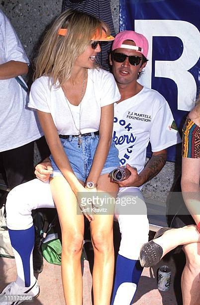 Heather Locklear with Tommy Lee of Motley Crue during TJ Martell Music and Sports Event 1989 in Los Angeles California United States