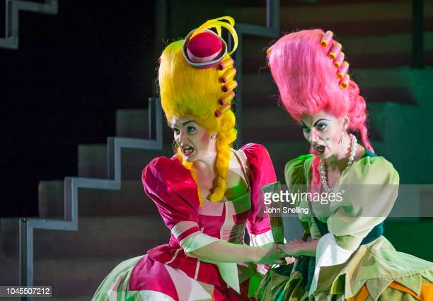 Heather Lowe as Tisbe and Aoife Miskelly as Clorinda perform on stage during the Welsh National Opera performance of âLa Cenerentola' Dress Rehearsal...
