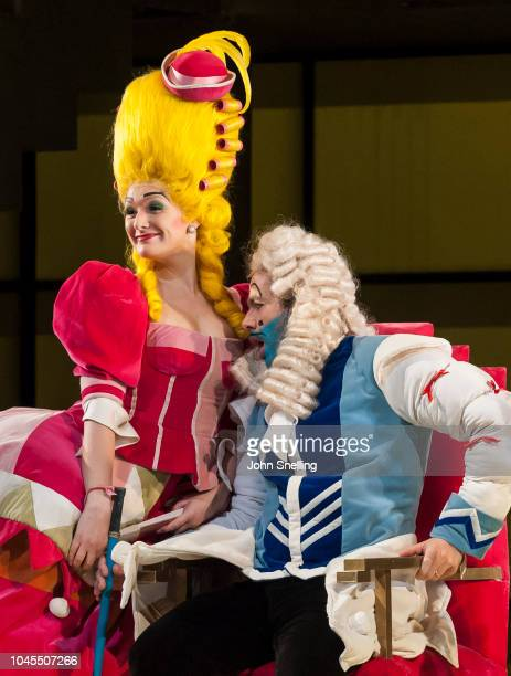 Heather Lowe as Tisbe and Giorgio Caoduro as Dandini perform on stage during the Welsh National Opera performance of âLa Cenerentola' Dress Rehearsal...