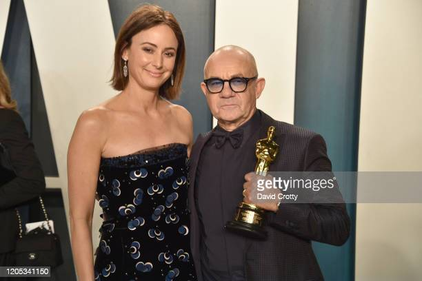 Heather Lynn Hodgins Kidd and Bernie Taupin attend the 2020 Vanity Fair Oscar Party at Wallis Annenberg Center for the Performing Arts on February 09...