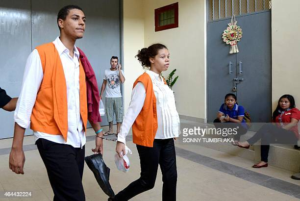 Heather Mack and Tommy Schaefer of the US are escorted from the jail to a prisoner van at Kerobokan prison in Denpasar on Indonesia's resort island...