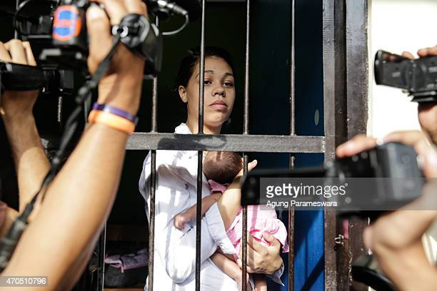 Heather Mack of the United States holds her baby daughter in jail after her verdict hearing on April 21, 2015 in Denpasar, Bali, Indonesia. An...