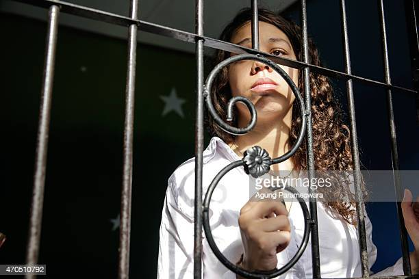 Heather Mack of the United States looks on in jail after her verdict hearing on April 21, 2015 in Denpasar, Bali, Indonesia. An Indonesian judge has...