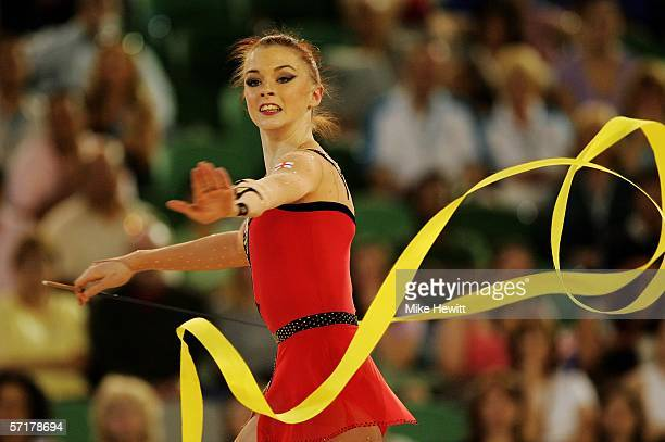 Heather Mann of England performs during the Rhythmic Gymnastics Indinvidual AllRound final at the Rod Laver Arena during day ten of the Melbourne...