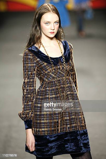 Heather Marks wearing Anna Sui Fall 2006 during Olympus Fashion Week Fall 2006 Anna Sui Runway at Bryant Park in New York City New York United States
