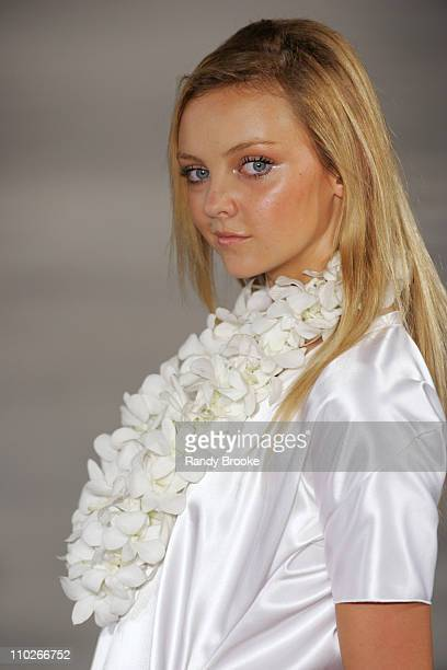 Heather Marks wearing Derek Lam Spring 2006 during Olympus Fashion Week Spring 2006 Derek Lam Runway at Milk Studios in New York City New York United...