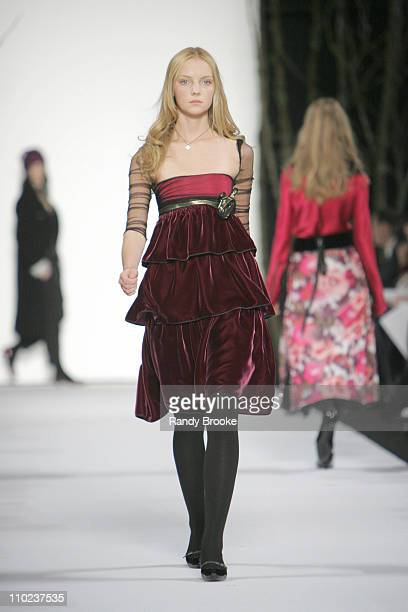 Heather Marks wearing Marc Jacobs Fall 2005 during Olympus Fashion Week Fall 2005 - Marc Jacobs - Runway at New York State Armory in New York City,...