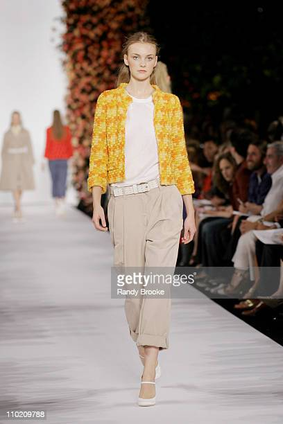Heather Marks wearing Marc Jacobs Spring 2005 during Olympus Fashion Week Spring 2005 - Marc Jacobs - Runway at Pier 54 in New York City, New York,...