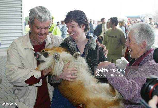 Heather McCourt and her corgi Toby are reunited her parents as they disembark from PO's flagship Aurora in Southampton after a 17day cruise around...