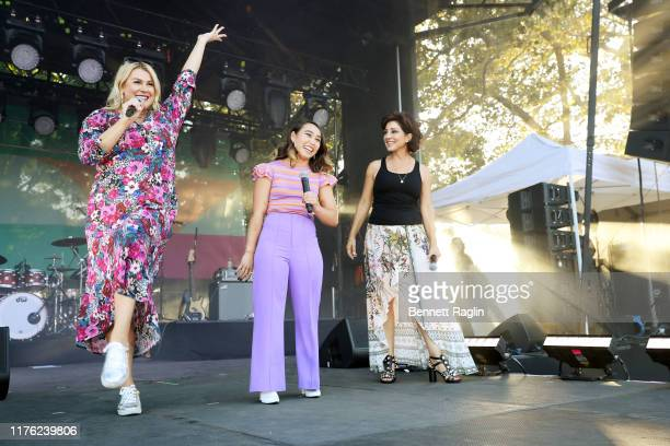 Heather McMahan, Katelyn Ohashi and Valorie Kondos Field are seen onstage during Bustle's 2019 Rule Breakers Festival at LeFrak Center at Lakeside on...