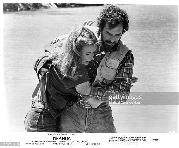 Heather MenziesUrich hangs onto Bradford Dillman in a scene from the film 'Piranha' 1978