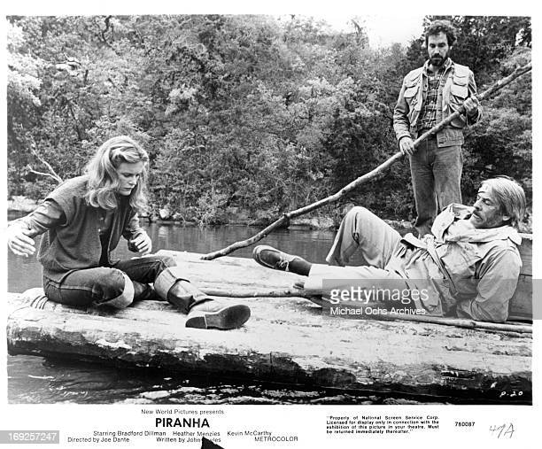 Heather MenziesUrich Kevin McCarthy and Bradford Dillman on a raft in a scene from the film 'Piranha' 1978