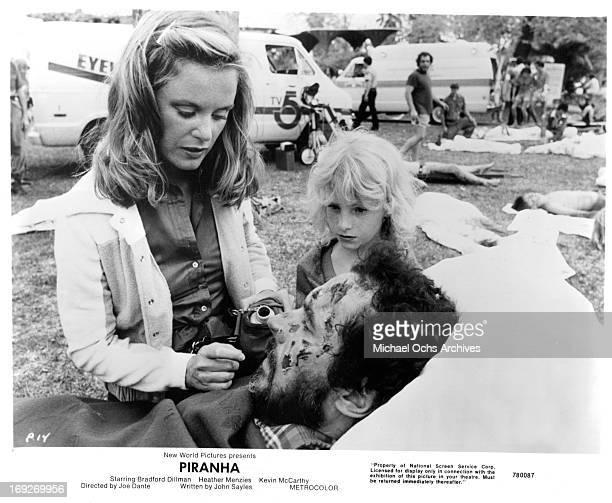 Heather MenziesUrich nurses Bradford Dillman in a scene from the film 'Piranha' 1978