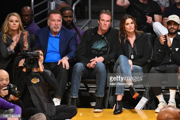 Heather Milligan Arnold Schwarzenegger Rande Gerber and Cindy Crawford attend a basketball game between the Los Angeles Lakers and the Portland Trail...