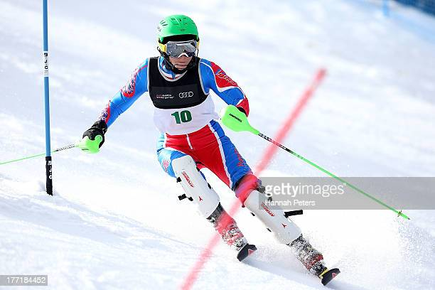 Heather Mills of Great Britain competes in the Womens Slalom Standing LW4 race during the IPC Alpine Adaptive Slalom World Cup on day eight of the...