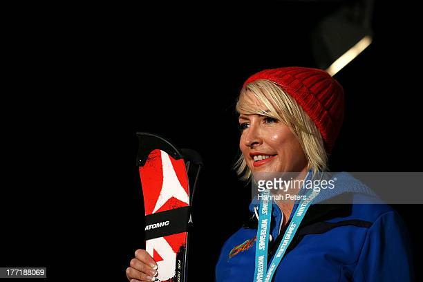 Heather Mills of Great Britain poses on the podium after finishing second in the Womens Slalom Standing LW4 race during the IPC Alpine Adaptive...