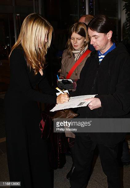 Heather Mills signs an anti fur petition at her hotel on November 21 2007 in Dublin Ireland