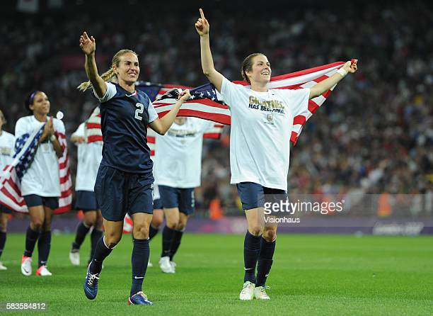 Heather Mitts and Kelley O'Hara celebrate as USA win the USA vs Japan Final match in the Women's Soccer Competition as part of the 2012 London...