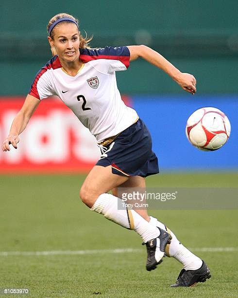 Heather Mitts of USA moves towards a high pass during a 60 USA win over Canada in an international friendly match on May 10 2008 at RFK stadium in...
