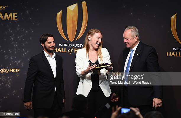 Heather Moyse is presented with her cap and pin by Gus Pichot World Rugby via Getty Images ViceChairman and Bill Beaumont World Rugby via Getty...