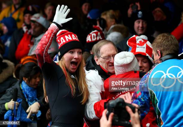 Heather Moyse of Canada team 1 celebrates after winning the gold medal during the Women's Bobsleigh on Day 12 of the Sochi 2014 Winter Olympics at...