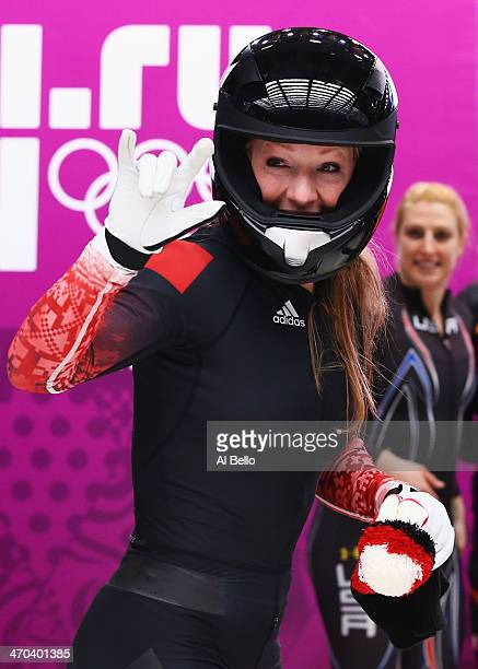 Heather Moyse of Canada team 1 celebrates on the way to winning the gold medal during the Women's Bobsleigh on Day 12 of the Sochi 2014 Winter...