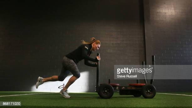 """Heather Moyse pushes """"the tank"""" to simulate bobsled starts. She videos her sessions to send to her coach. Heather Moyse, a two time Olympic gold..."""