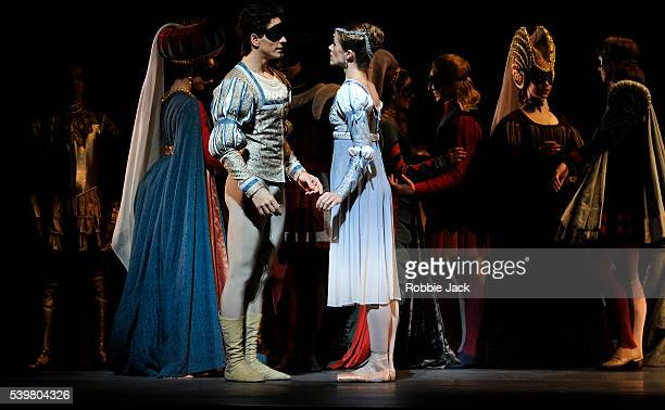 Heather Ogden as Juliet and Guillaume Cote as Romeo with artists of the company in the National Ballet of Canada's production of Alexei Ratmansky's...
