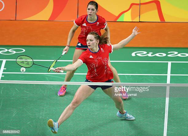 Heather Olver and Lauren Smith of Great Britain compete against Nitya Krishinda and Maheswari of Indonesia in the badminton Women's Doubles Group...