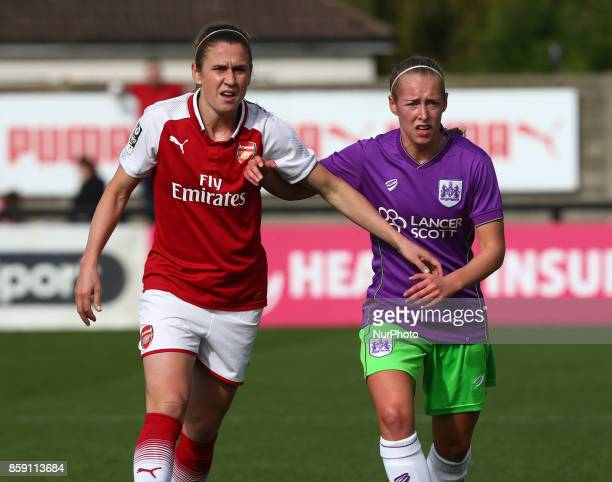 LR Heather O'Reilly of Arsenal and Florence Allen of Bristol City Women during Women's Super League 1match between Arsenal against Bristol City Women...