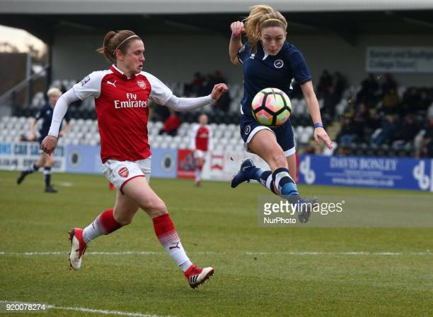 LR Heather O'Reilly of Arsenal and Megan Alexander of Millwall Lionesses L during The FA Women's Cup Fifth Round match between Arsenal against...